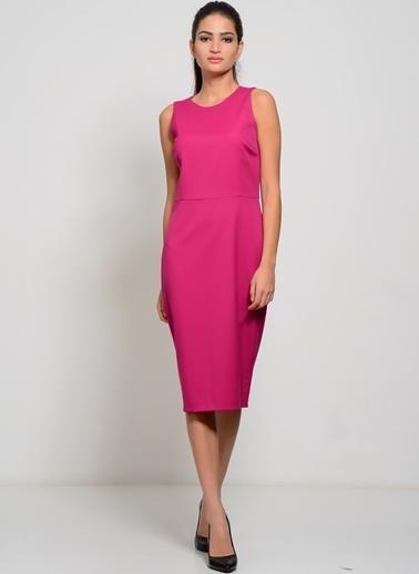 House Of Camellia Kolsuz Düz Elbise Fuşya